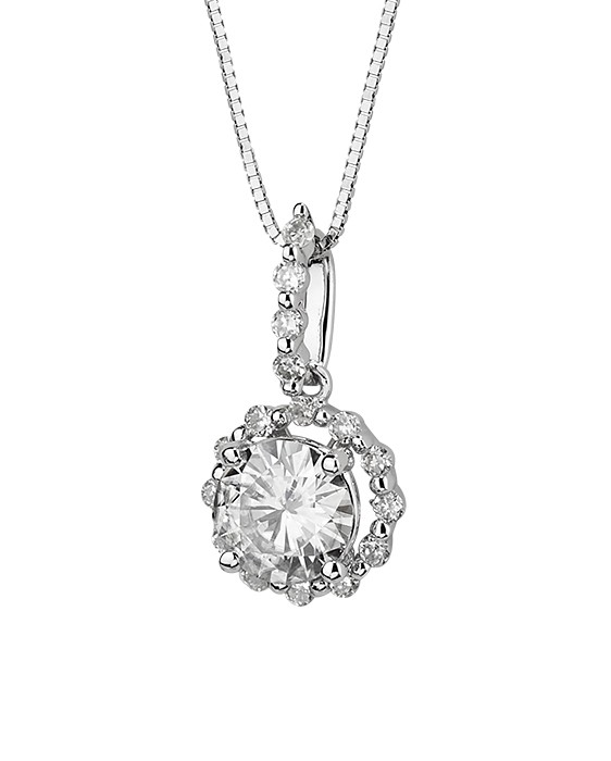 1 17 Ctw Moissanite Diamond Designer Pendant In 14k White Gold
